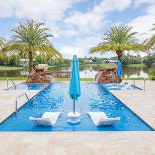Infinity Edge Pool With Custom Rock Waterfalls and Custom Spa in Boca Raton