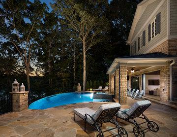 Infinity Edge Pool with Knife Edge Spa and Pool House