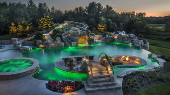 Infinity Edge Pool with LED Lighting Green