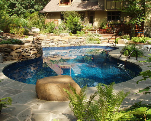 Natural Stone Pool Deck Mesmerizing Natural Stone Pool Deck  Houzz