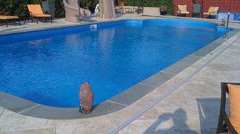 Inground Swimming Pool & Spa with Slide