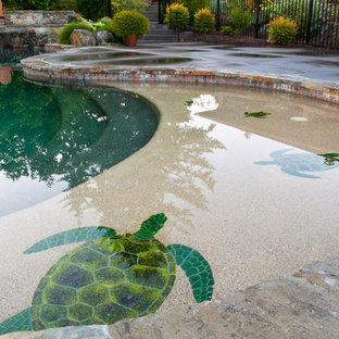 Foto de piscina natural, de estilo americano, grande, a medida, en patio trasero, con losas de hormigón