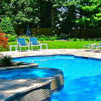 Custom Swimming Pool With Fountains Nj Eclectic Pool