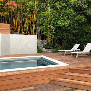 Inspiration for a contemporary backyard rectangular lap pool remodel in San Francisco with decking