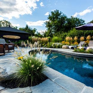 Réalisation d'une piscine naturelle et arrière chalet en forme de haricot de taille moyenne avec des pavés en pierre naturelle.