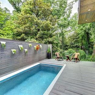 Diseño de piscina alargada, moderna, de tamaño medio, rectangular, en patio lateral, con entablado