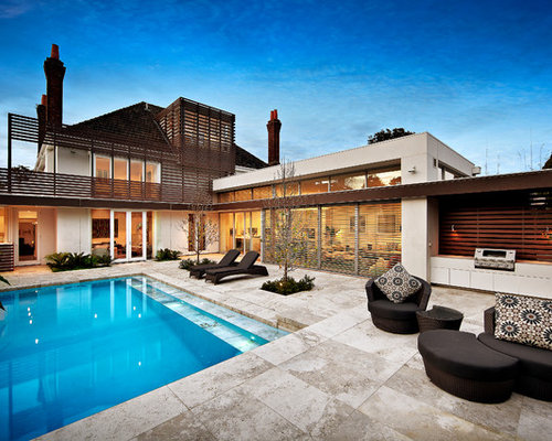 This Is An Example Of A Contemporary Backyard Rectangular Pool In Melbourne.
