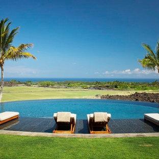 Imagen de piscina infinita, exótica, grande, redondeada