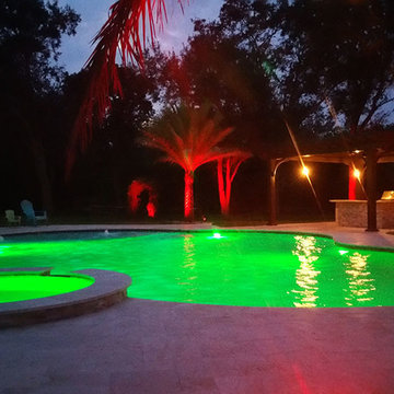 Lagoon Freeform Pool with Spa and LED Lights in Southwest Ranches, Florida