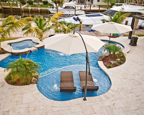 Lagoon Freeform Pool With Sun Shelf And Bar Area In Fort