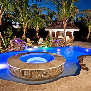 Lagoon/Freeform Swimming Pool with Raised Spa and LED Lights in Coral Springs
