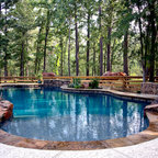 Traditional Kidney Shaped Pool With Stamped Concrete Deck