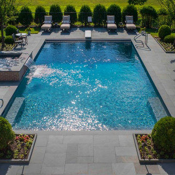 Lake Forest, IL Swimming Pool With Full Steps and Raised Spa With Sheer Descent