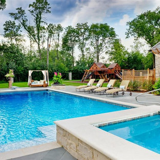 Lake Forest Swimming Pool and Hot tub with water feature