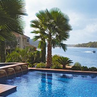 Tuscan custom-shaped pool photo in Austin