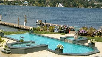 Lake Washington Pool With Spa and Fountain