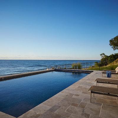 Pool - contemporary rectangular pool idea in Grand Rapids