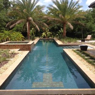 Foto di una grande piscina monocorsia tropicale rettangolare dietro casa con ghiaia