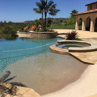 Modelo de piscinas y jacuzzis infinitos, costeros, de tamaño medio, a medida, en patio trasero, con losas de hormigón