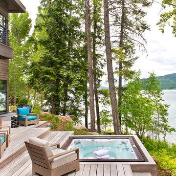 Lakeside Retreat, lake side deck, lakeside spa, modern deck, contemporary deck,