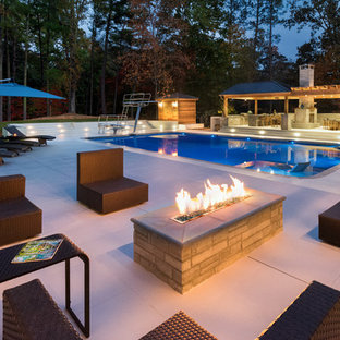 Large Contemporary Pool & Spacious Cabana with Fireplace