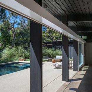 Modelo de piscina alargada, retro, grande, rectangular, en patio trasero, con losas de hormigón