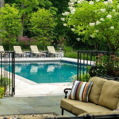 Mid-sized elegant backyard rectangular and stone pool photo in New York