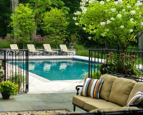 Mid Sized Elegant Backyard Rectangular And Stone Pool Photo In New York