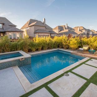 Foto de piscinas y jacuzzis contemporáneos, pequeños, rectangulares, en patio trasero, con losas de hormigón
