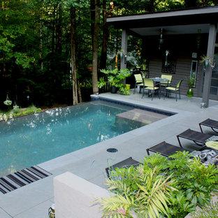 アトランタの中サイズの長方形コンテンポラリースタイルのおしゃれなプール (コンクリート敷き) の写真