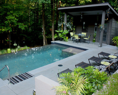 pool house mid sized contemporary backyard concrete paver and rectangular infinity pool house idea - Cool House Pools