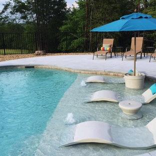 Modelo de piscina con fuente alargada, contemporánea, grande, a medida, en patio trasero, con losas de hormigón