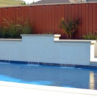 他の地域の中くらいの長方形ビーチスタイルのおしゃれな裏庭プール (噴水) の写真