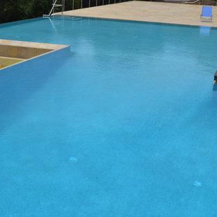 Foto de piscina infinita, minimalista, grande, a medida, en patio trasero, con adoquines de piedra natural