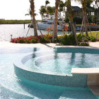 Glass tile waterfall eclectic pool miami by - Diamond brite espana ...