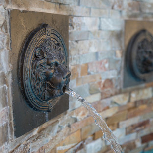 Lion Head Fountains for Freeform Pool with Wet Edge Spa in Lighthouse Point, Flo