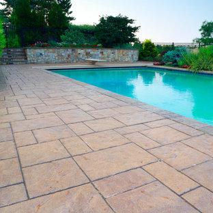 Diseño de piscina con tobogán natural, clásica, grande, rectangular, en patio trasero, con adoquines de hormigón
