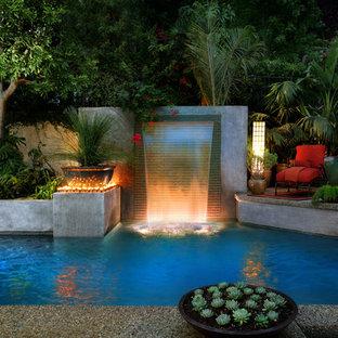 ロサンゼルスの中サイズの長方形トロピカルスタイルのおしゃれなプール (噴水) の写真