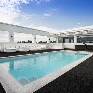 Mittelgroßer Moderner Pool auf dem Dach in Stuttgart