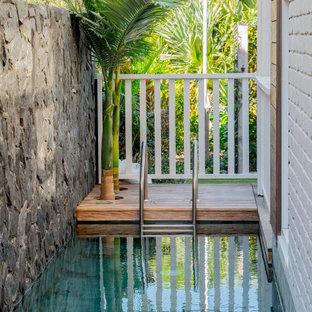 Immagine di una piscina tropicale rettangolare con pedane
