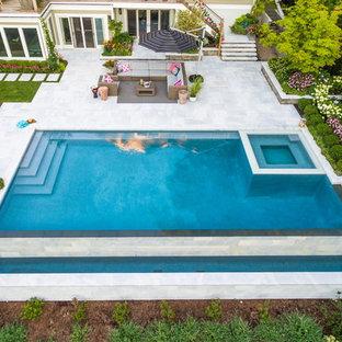 Luxury vanishing edge swimming pool and outdoor living area Ridgewood NJ
