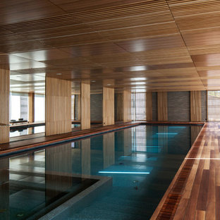 Inspiration For A Modern Indoor Rectangular Lap Hot Tub Remodel In San  Francisco With Decking