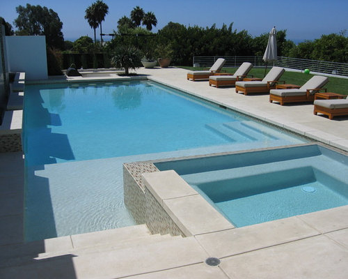 Exposed aggregate concrete pool deck home design ideas for Pool design houzz