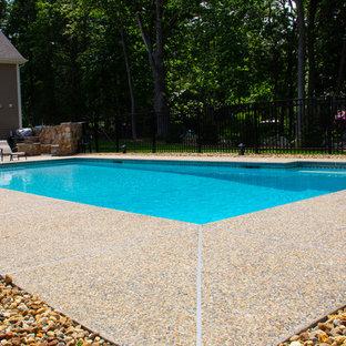 Ejemplo de piscina natural, de tamaño medio, rectangular, en patio trasero, con entablado