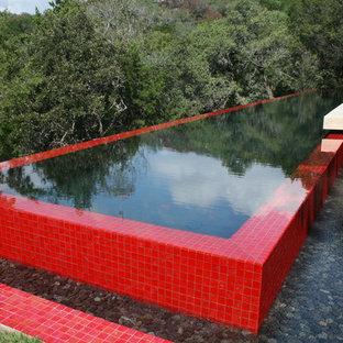 Idées déco pour une piscine à débordement moderne.
