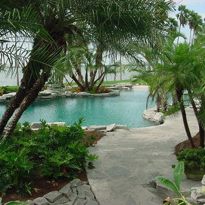 Pool - large tropical backyard stone and custom-shaped natural pool idea in Tampa