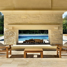 Mediterranean Pool by ARNOLD Masonry and Landscape