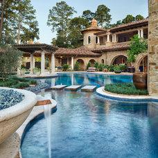 Mediterranean Pool by JAUREGUI Architect Builder