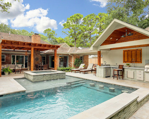 L shaped pool design ideas remodels photos for Pool design houzz
