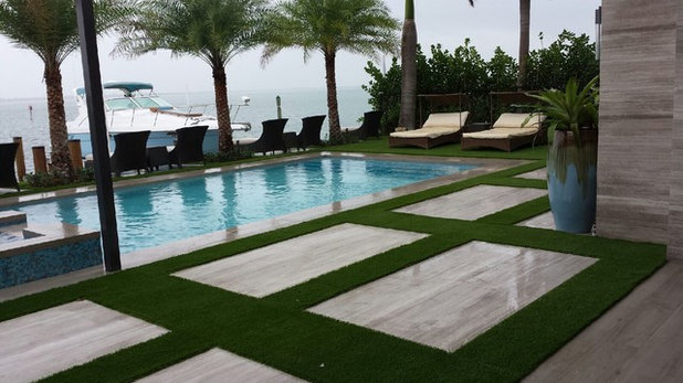 Contemporary Swimming Pool by Monster Grass Artificial Turf & Ivy